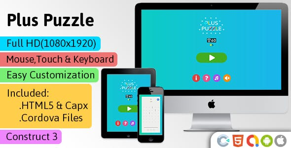 Plus Puzzle - HTML5 Game (Construct 3 | C3p) - Puzzle Game Str8face