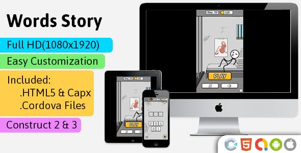 Words Story- HTML5 Game (Construct 2 | Construct 3 | Capx) - Word Game