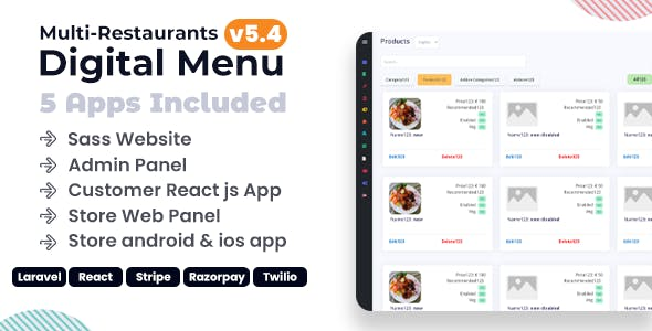 Chef - Multi-restaurant Saas - Contact less Digital Menu Admin Panel with - React Native App