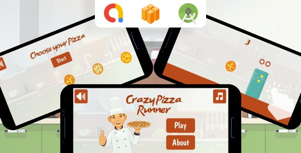 Crazy Pizza Runner Android Game (Buildbox project + Android Studio Project + Admob Ads)