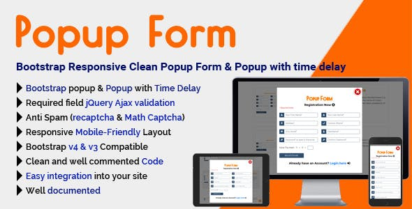 Popup Form - Bootstrap4 Responsive Clean Popup Form also Bootstrap3 Compatible