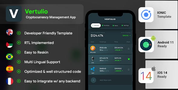 Cryptocurrency Management Android App Template+ iOS App Template| IONIC 5 | Vertulio