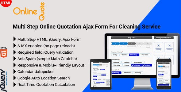 Online Quote - Multi Step Online Quotation Ajax Form For Cleaning Service