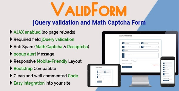 ValidForm - jQuery validation and Math Captcha Form - CodeCanyon Item for Sale