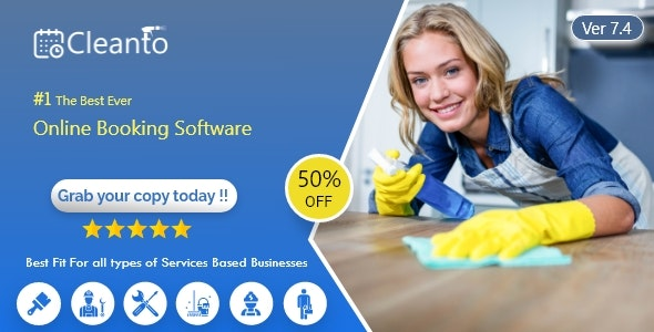 Cleanto v7.4 – Online bookings management system for maid services and cleaning companies