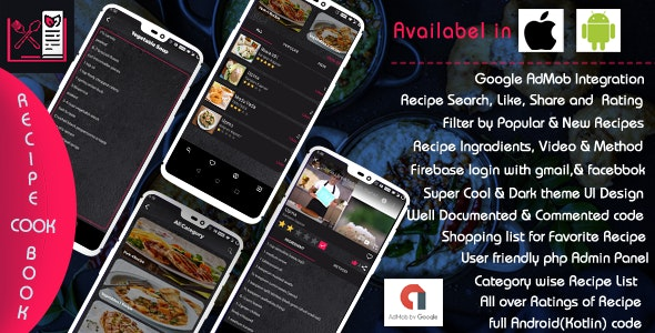 Recipe Cook Book - Android  (Kotlin) - CodeCanyon Item for Sale
