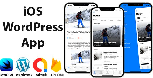 Blog and News SwiftUI iOS App for WordPress Site with AdMob, Firebase Push Notification and Widget