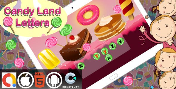 Candyland Alphabet Letters Construct 3 HTML5 Educational Kids Game With Admob | Android and iOS