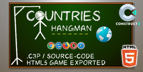 Countries Hangman HTML5 Game - Construct 3 All Source-code (.c3p)