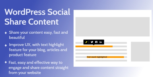 WordPress Social Share Content And Highlight Text - CodeCanyon Item for Sale
