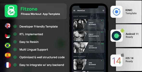 Fitness Workout Android App + Workout iOS App | Template (HTML + CSS in IONIC 5)