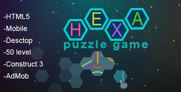 HEXA - puzzle game. C3. html5, mobile, pc, 50 level + AdMob - CodeCanyon Item for Sale
