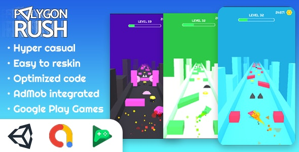 Polygon Rush - Hyper Casual Game made with Unity - CodeCanyon Item for Sale