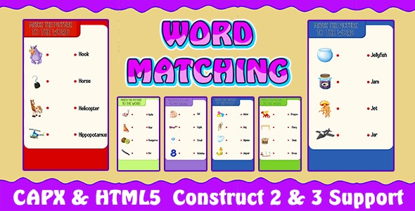 Word Matching Game (CAPX and HTML5) Kids Learning Game - CodeCanyon Item for Sale
