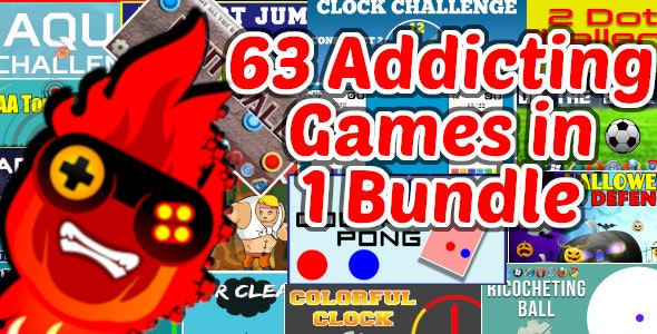 63 Addicting Construct 2 HTMl5 Games with Capx in 1 Bundle   HTML5 and iOS and Android - CodeCanyon Item for Sale