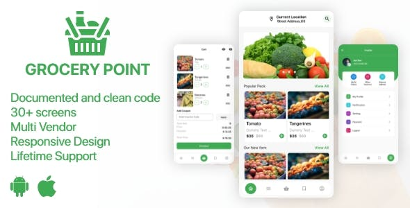 Grocery Point - Online Grocery Shop App in Flutter - Android & IOS
