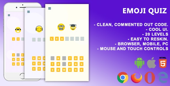 Emoji Quiz. Mobile, Html5 Game .c3p (Construct 3) - CodeCanyon Item for Sale