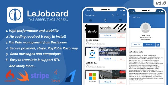 LeJoboard iOS & Android, Job board portal, Freelancers, Manage interviews with Admin panel - CodeCanyon Item for Sale