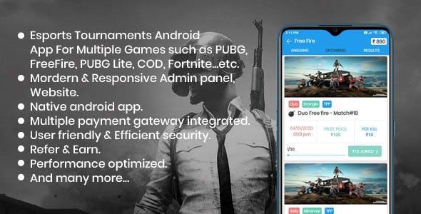 BattleMania - Tournament App with Website & Admin Panel for PUBG / Free Fire / COD / PUBG Lite