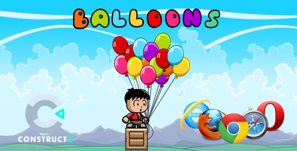 Balloon HTML5 Game (With Construct 3 All Source-code (.c3p)
