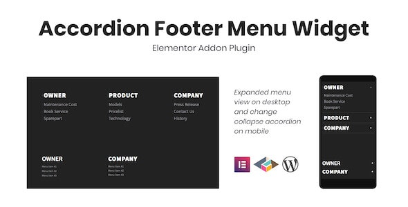 Accordion Footer Menu Widget For Elementor - CodeCanyon Item for Sale