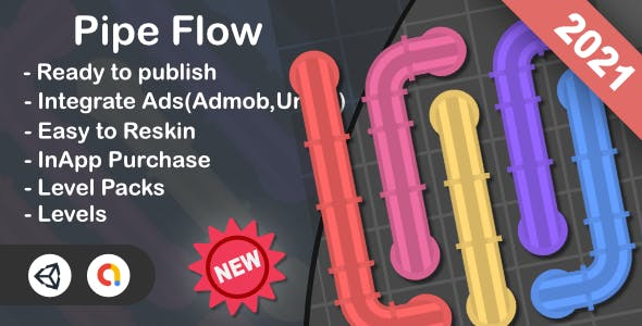 Pipe Flow(Unity Game+Admob+iOS+Android)