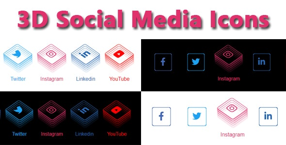 3D Social Media Icons - CodeCanyon Item for Sale