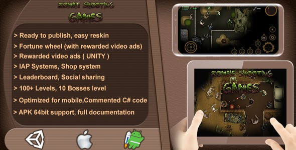 Zombie Shooting Games 2D - Complete Game Template / Project - Unity Game