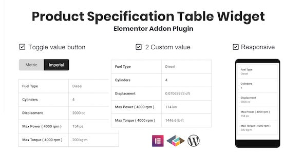 Product Specification Table Widget For Elementor - CodeCanyon Item for Sale
