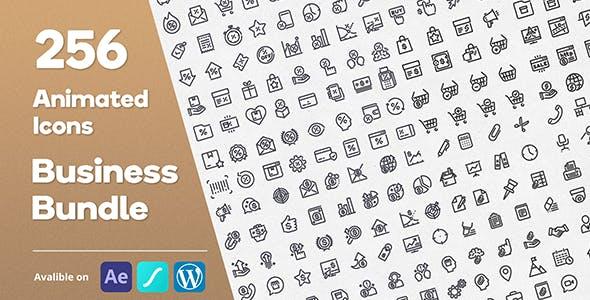 Business Bundle 256 Animated Lottie Icons - Ecommerce Marketing Office Discount