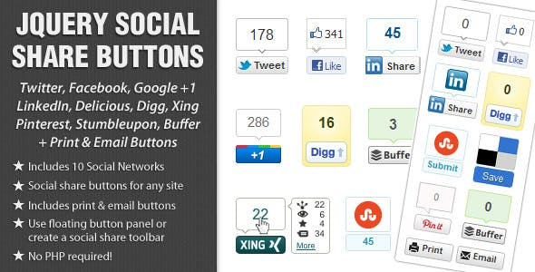 jQuery Social Share Buttons Plugin        Nulled