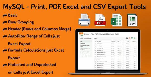 MySQL - Print, PDF, Excel and CSV Export Tools