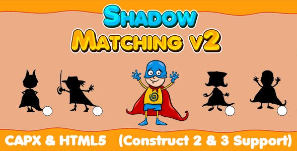 Shadow Matching v2 50 Levels (CAPX   HTML5   Cordova) Kids Education Game