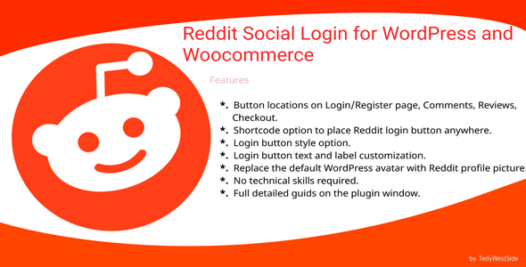 Reddit Social Login  Plugin for WordPress and WooCommerce - CodeCanyon Item for Sale