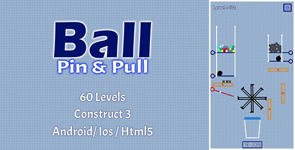 Ball Pin And Pull - HTML5 Game (Construct 3)