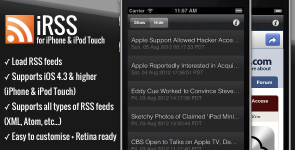 iRSS - for iPhone - A simple RSS Reader - CodeCanyon Item for Sale