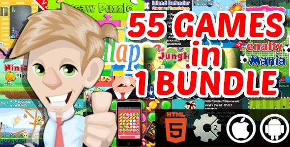 55 Construct 2 and GameMaker HTML5 Game in 1 Bundle for Web and Android and ios