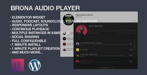 Brona Audio Player With Playlist Elementor Widget