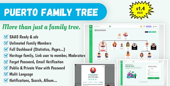 Puerto Family Tree Builder SAAS - CodeCanyon Item for Sale