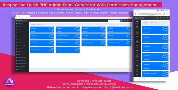 [Windows] Automatic Responsive Admin Panel Generator with Permission Management from MySQL Database - CodeCanyon Item for Sale
