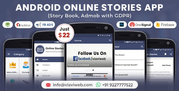Android Online Stories App (Story Book, Admob with GDPR) - CodeCanyon Item for Sale