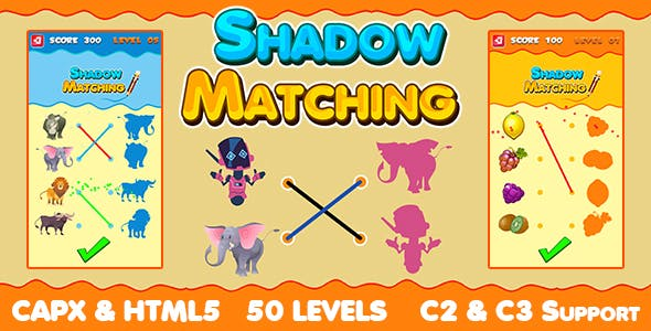 Shadow Matching Game 50 Levels (CAPX   HTML5   Cordova) Kids Learning Game