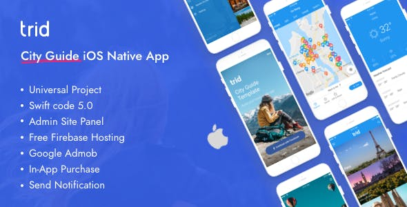 Trid - City Travel Guide iOS Native with Admin Panel, Firebase