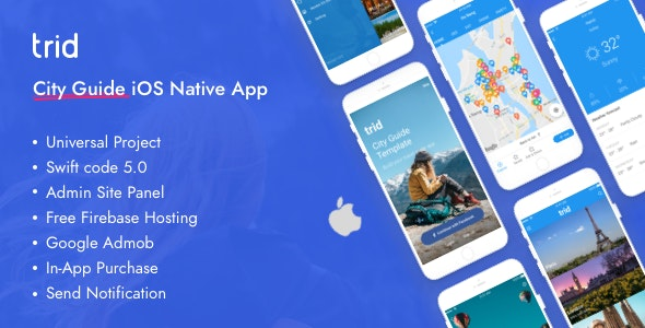 Trid - City Travel Guide iOS Native with Admin Panel, Firebase - CodeCanyon Item for Sale
