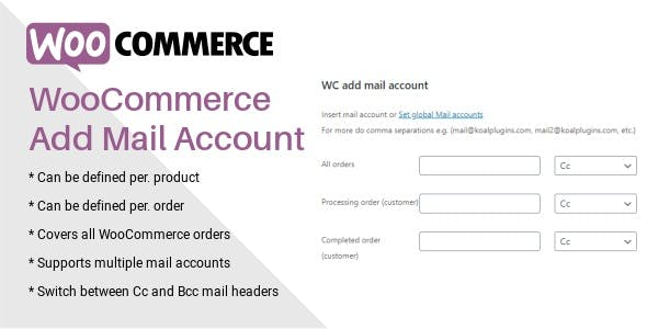 WooCommerce Add Mail Account