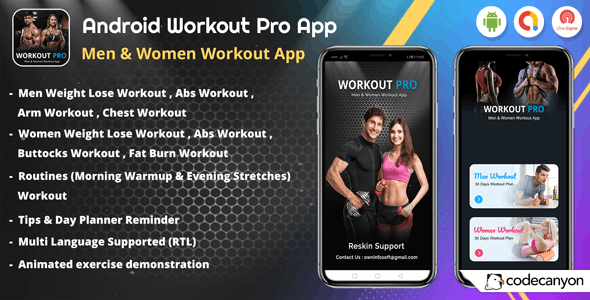Android Workout Pro - Men Workout & Women Workout App (v_2) - CodeCanyon Item for Sale