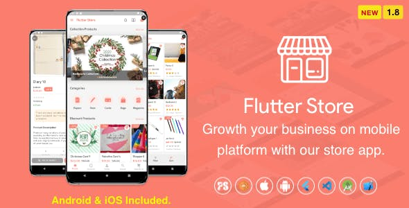 Flutter Store ( Ecommerce Mobile App for iOS & Android with same backend ) 1.8