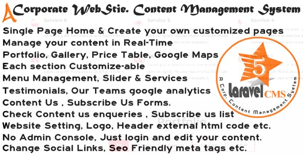 Lara. 5 Star CMS A Corporate Website Content Management System | With Full Source Code | Single Page