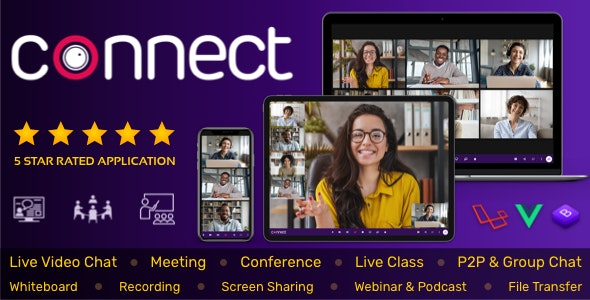 Connect - Live Video & Chat Messaging, Live Class, Meeting, Webinar, File Sharing, Whiteboard - CodeCanyon Item for Sale