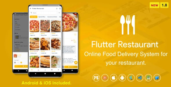 Flutter Restaurant ( Online Food Delivery System For iOS and Android ) 1.8